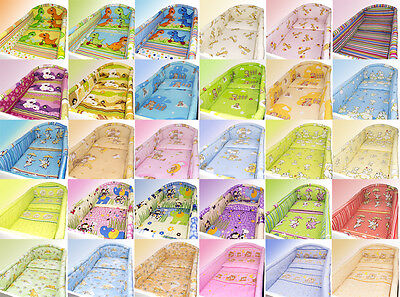 BABY BEDDING SET 2 3 4 5 6 pc ALLROUND BUMPER PILLOW DUVET COVER FOR COT 120x60
