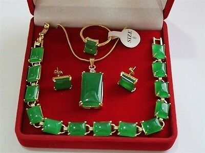 2 style nice green jade bracelet earrings ring & pendant Necklace 4pc set A310