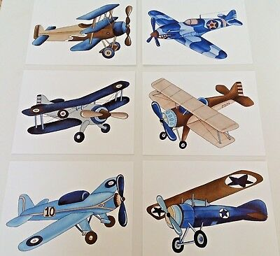 Vintage Airplanes Boy Nursery Wall Art Prints  Kids Pictures Paintings Decor