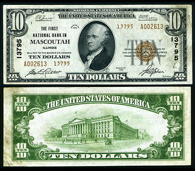 Mascoutah IL $10 1929 T-2 National Bank Note Ch #13795 First NB Extra Fine+