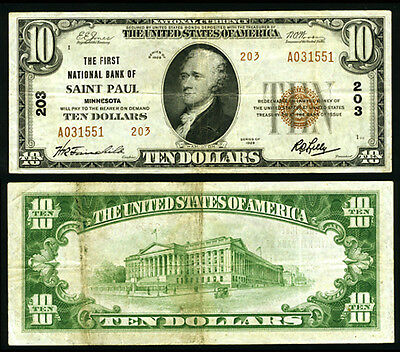 Saint Paul MN $10 1929 T-2 National Bank Note Ch #203 First NB Very Fine