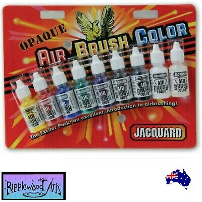 Jacquard AIR BRUSH COLORS - Exciter Pack - OPAQUE - 9 Bottle Set