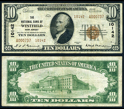 Westfield NJ $10 1929 T-2 National Bank Note Ch #10142 National Bank Very Fine