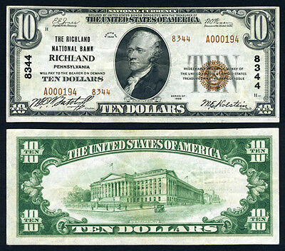 Richland PA $10 1929 T-2 National Bank Note Ch #8344 Richland NB Extra Fine