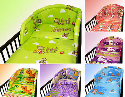BABY BEDDING SET 2 PC 3 4 5 6 PIECES PILLOW DUVET COVER BUMPER FOR COT 140x70 UK