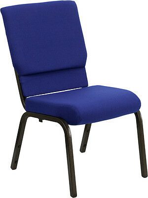 """18.5"""" Wide Navy Blue Fabric Stacking Church Chair - Gold Vein Frame"""