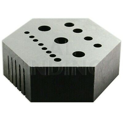 Hexagonal Staking anvil 15 holes & 5 serrations watch riveting watchmakers tool