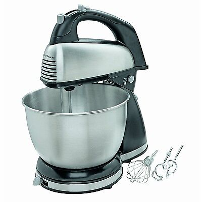 New! Hamilton Beach - 6-Speed Classic Hand/Stand Mixer - Stainless-Steel/Black