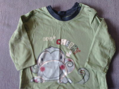 Baby Boys 6-9 Months - Green Long Sleeve Top - Cheeky Monkey Motif