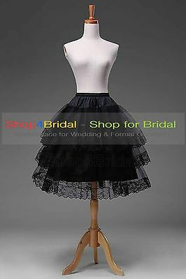 Black/White Knee Length Lace Edge Hoopless Skirts Crinoline Petticoat Slips TUTU