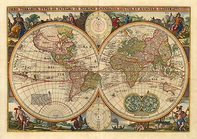 Old World Map - Vintage Art Print Poster - A1 A2 A3 A4 A5