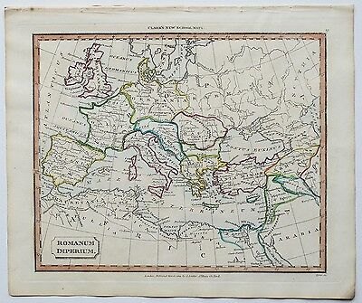 c1830 ROMAN EMPIRE GENUINE HAND COLOURED MAP PUBLISHED BY J. SOUTER