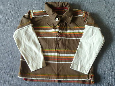 Baby Boys 12-18 Months - Brown Striped & Cream Long Sleeve Top - George