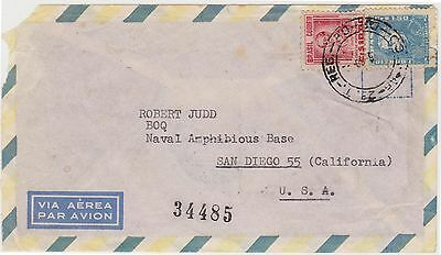 (EH39)1960 Brazil to USA letter to Naval base San Diego