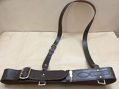 Sam Browne Belt + Shoulder Strap Dark Brown Leather