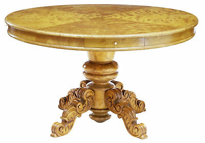 19Th Century Birch Swedish Carved Drum Centre Table