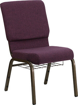 18.5'' W Plum Fabric Church Chair Communion Cup Book Rack - Gold Vein Frame