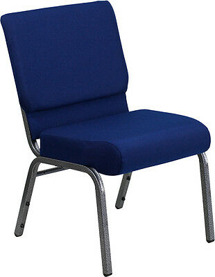 21'' Extra Wide Navy Blue Fabric Stacking Church Chair - Silver Vein Frame