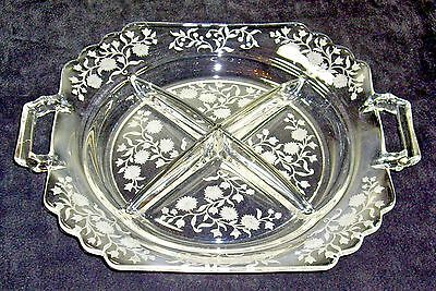 """Fostoria  """"Mayfair"""" etched 4 part open handled relish dish  1930-1944"""