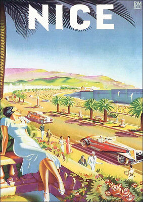 France Nice French Travel Poster - Vintage Art Print Poster - A1 A2 A3 A4 A5