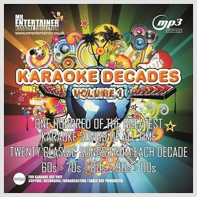 Mr Entertainer Karaoke 100 MP3+G Tracks - Decades 60s,70s,80s,90s,00s Vol 1 MKD1