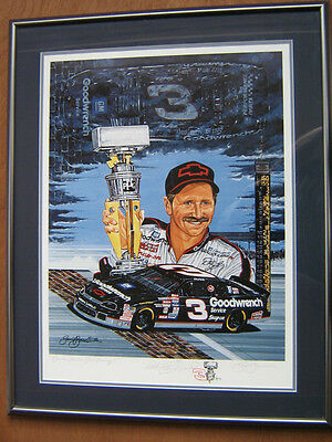 """""""Black Clouds, Silver Lining!""""  Sam Bass Print A/P Remarque Signed by Earnhardt"""