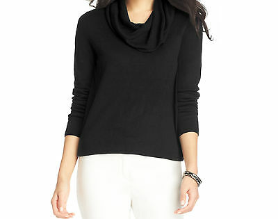 Ann Taylor Loft Cowl Neck Sweater Size X Small Nwt Black Color