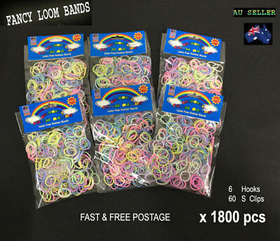 1800pcs(6x300) Color Loom Band Rubber Bandz Glow in the dark+free clips &Hooks