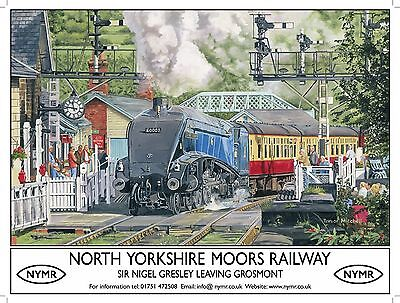 Sir Nigel Gresley, Steam Train 60007, NYMR Railway Small Metal Tin Sign, Picture