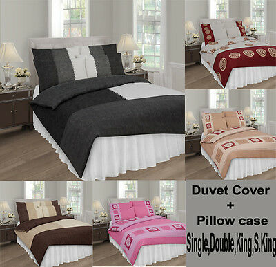 DUVET COVER WITH PILLOW CASE QUILT COVER BEDDING SET 4size TOP Q
