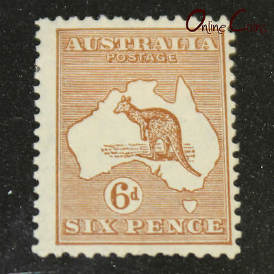1913-1932 Kangaroo 6d Chestnut  - MLH Type 5 Small Multiple Watermark
