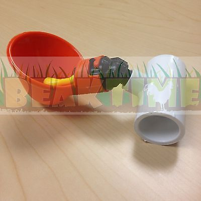 100 Chicken Water Cups + Tee PVC Fittings Chicken Automatic Drink Drinkers Farm