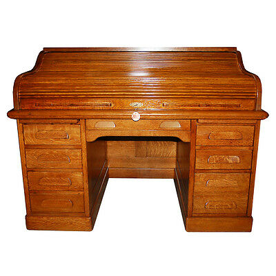 Beautiful Antique 19th C. American Oak Rolltop Desk #2043