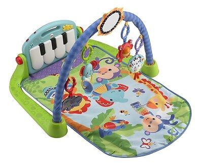NEW! Fisher-Price Kick & Play Piano Gym with 5 Busy Activity Toys & Large Mirror