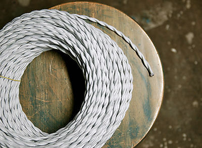 White Cotton Twisted Cloth Covered Wire - Vintage Style Lamp Cord Antique Lights