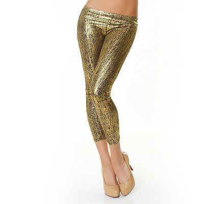Sexy 7/8 Leggings Lack Metallic Hose Hochglanz Leggins Latex! 34,36,38 OVP Gold • EUR 4,99