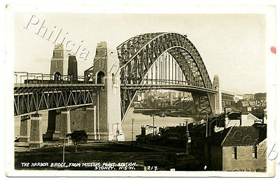 1930's Rp Npu Postcard Sydney Harbour Bridge/from Milson's Point Station I19