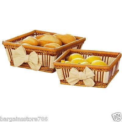 Pair of Natural Fern Bread Serving Baskets Square Cream Lining Kitchen Retro New