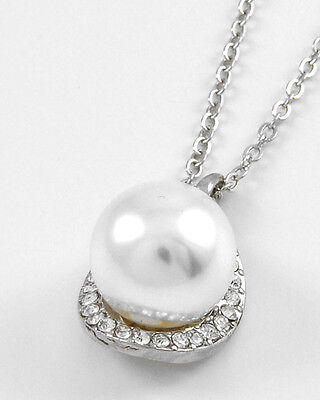 White Synthetic Pearl Necklace With Clear Rhinestone Accents