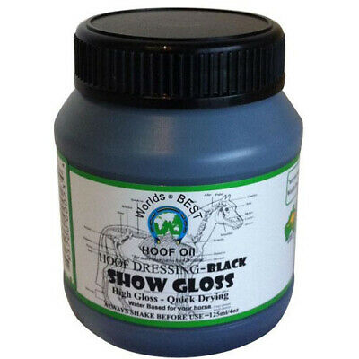 Worlds best hoof oil Show Gloss BLACK Horses Pony stables show competition 125ml