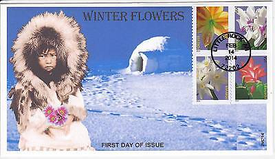 Jvc Cachets - 2014 Winter Flowers First Day Covers Fdc Topical- 4 Stamp Cover