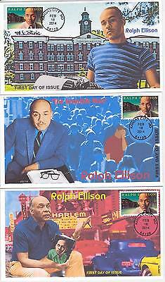 Jvc Cachets - Set Of 3 -2014 Ralph Ellison First Day Covers Fdc Black Heritage