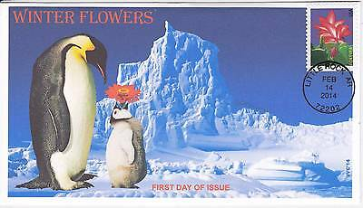 Jvc Cachets - 2014 Winter Flowers First Day Covers Fdc Topical-Penguin W/ Flower