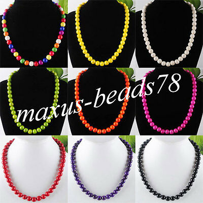 """Free Shipping 10MM Mix Color Turquoise Gemstone Round Beads Necklace 17 """" MBF022"""