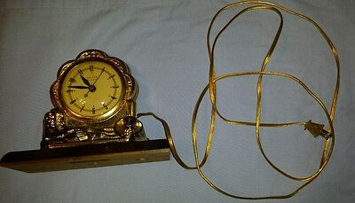 Vintage United Clock Company USA Cowboy western gold electric mantle clock
