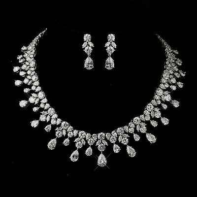 Antique Silver Clear CZ Crystal Necklace & Earrings Prom Bridal Jewelry Set