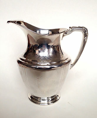"""WM. A. ROGERS Silver Plate Etched Monogram """"J"""" Water Pitcher Jug w Ice Lip"""