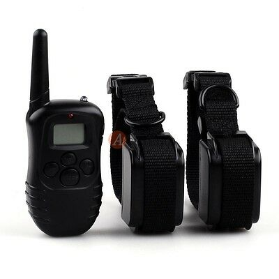 Rechargeable Waterproof Shock Vibration Remote 2 Dog Pet Training Collar