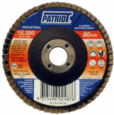 100mm Industrial Flap Disc 100x16mm 80 Grit - Box of 10