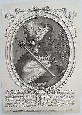 1680 Engraved Portrait African King - Slavery - Royalty - Paris - Guinea Crown